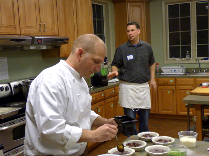 Rob Robinson (front) and Matt Payne demonstrating the cuisine of Mexico.