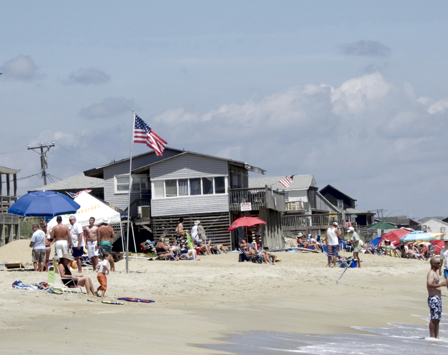 Kitty Hawk beach in the summer. Nourishment would widen the beach and protect beachfront properties.