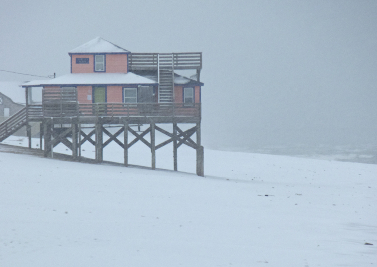 Pelican's Perch, beachfront home available from Joe Lamb, Jr. in a rare Outer Banks snowstorm.