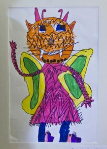 childs drawing of a cat with butterfly wings