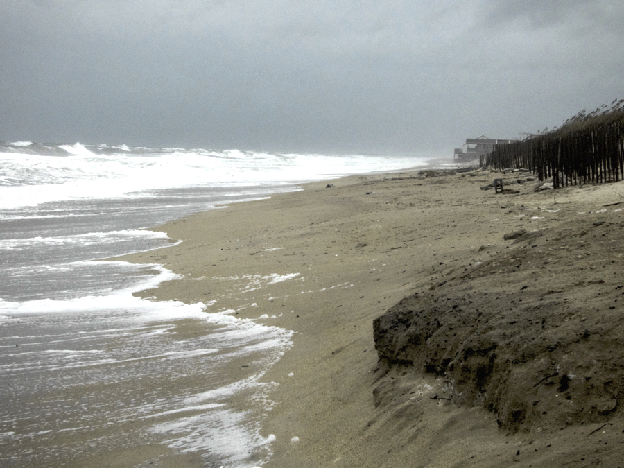 Kitty Hawk Beach during a storm. Kitty Hawk is particularly vulnerable to ocean encroachment.