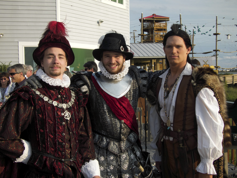 Anias Dare, Sir Walter Raleigh and Chief Manteo making an appearance at Pamlico Jack's.
