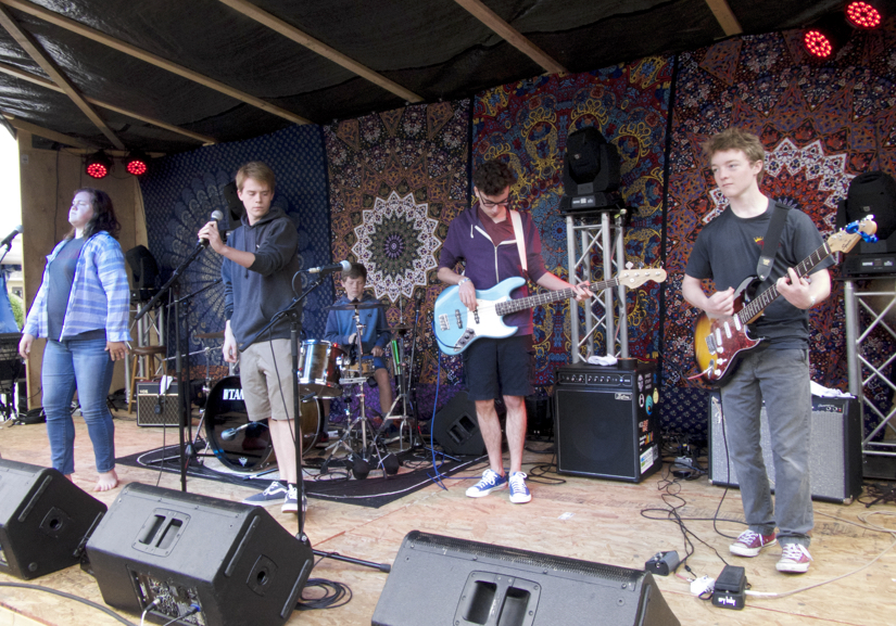 Last Days of May in performance. (LtoR): Gracie Deichler, Joe Sawin, Jonah Wills-drums, Jacob Mandis, Sam Wills.