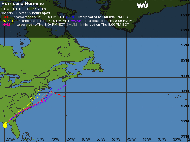 Storm track of Hermine at 8:00 p.m. 9/1. Image, Weather Underground