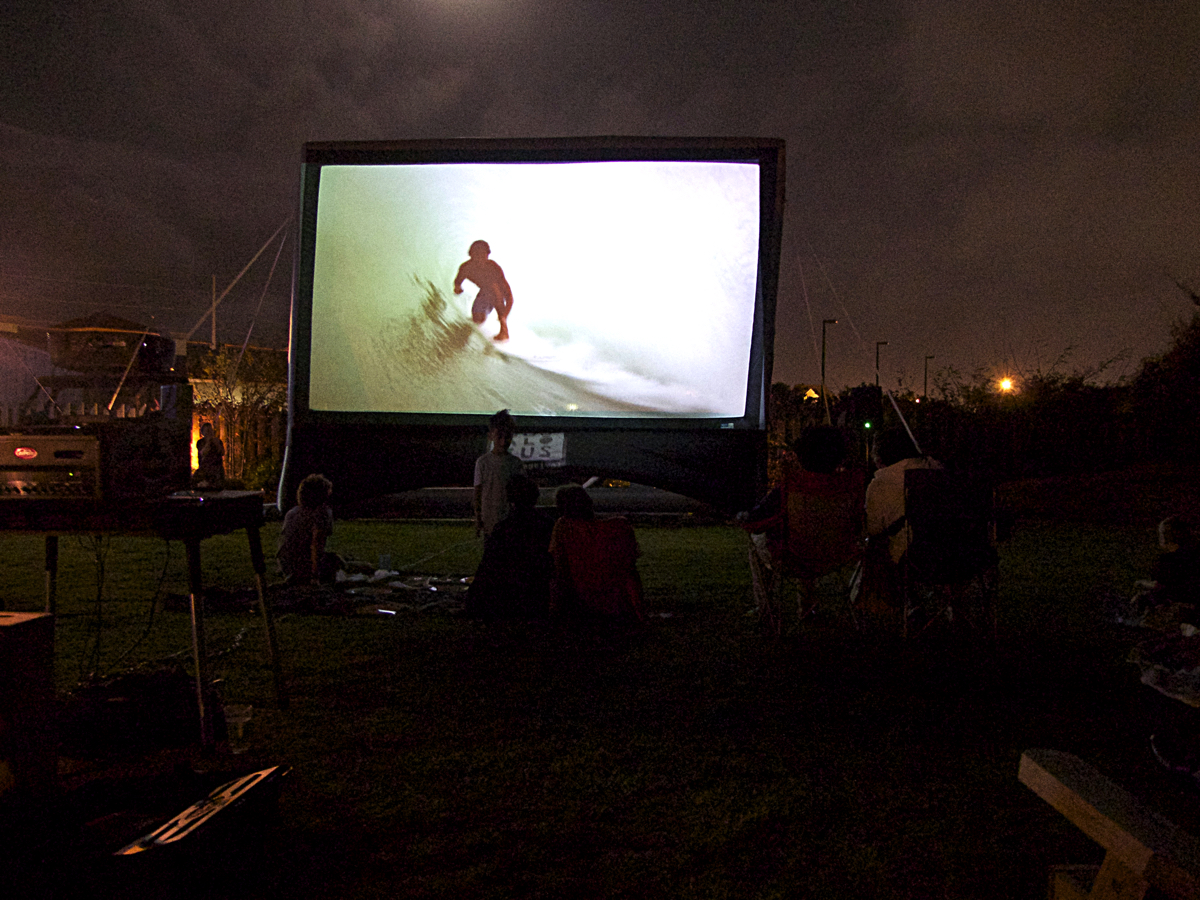 Outdoor viewing of Psychic Migrations at the Brewing Station, Friday, September 16.