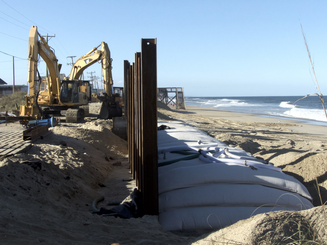 Construction on the Beach Road in Kitty Hawk, repairing damage done by Hurricane Matthew.