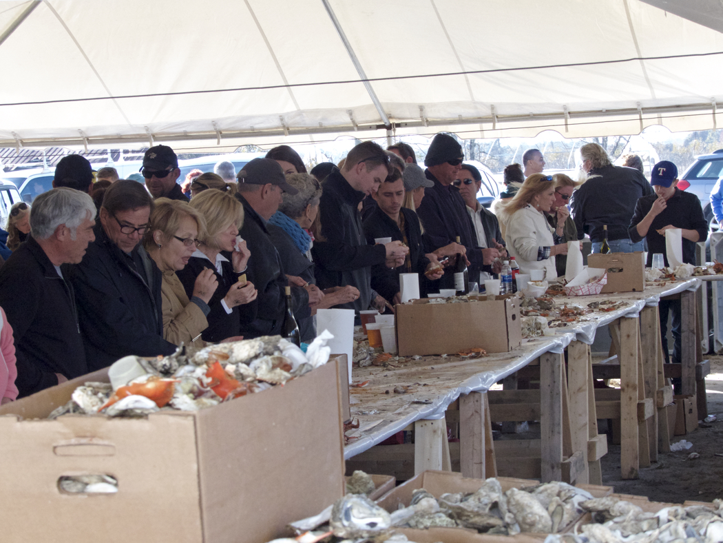 Lined up to shuck oysters and pick crab at the Annual Big Curri-Shuck.