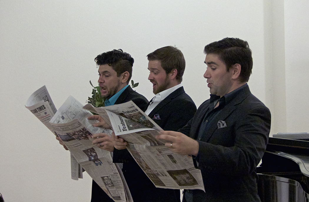 """Left to Right: Christopher Morales, Andrew Paulson, Peter Lake. """"Fugue for Tin Horns."""""""