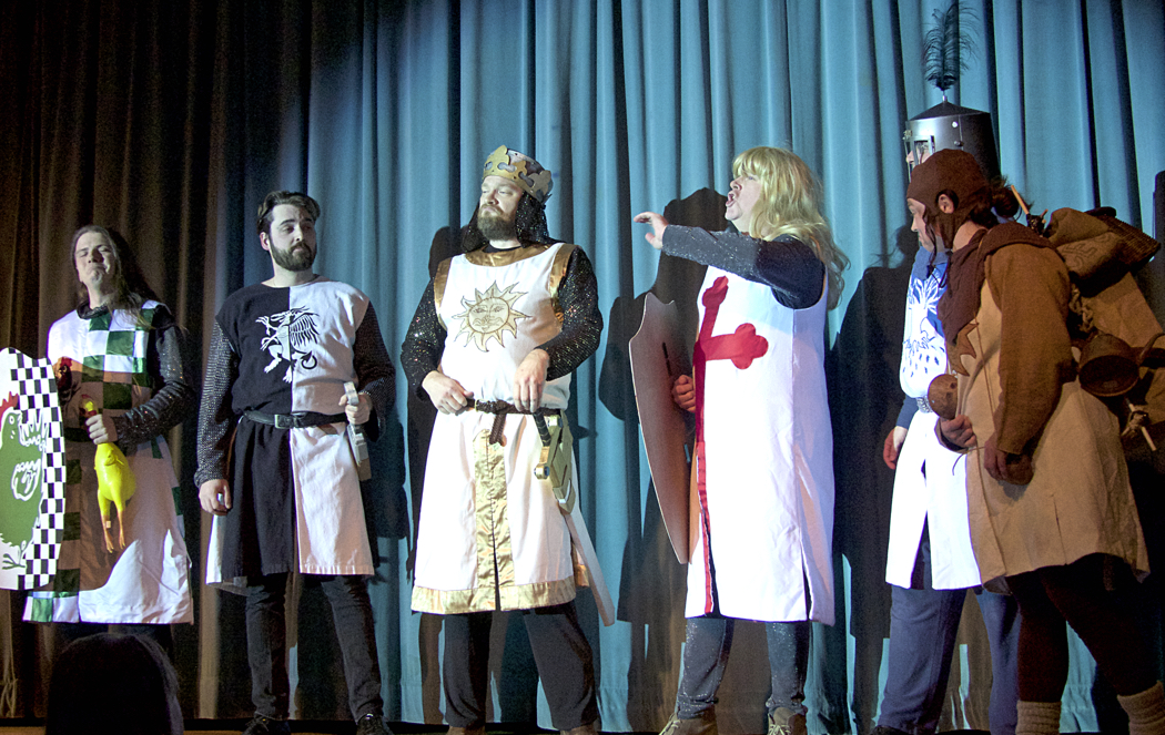 Knights of the Round Table (LtoR): Sir Robin who slew the vicious Chicken of Bristol;e Homicidally Brave Lancelot;King Arthur; the Dashingly Handsome Sir Galahad; the strangely flatulent Sir Bedevere; and Arthur's servant Patsy.
