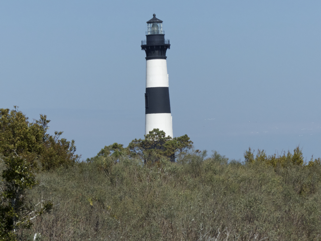 Bodie Island Lighthouse from the trail on the western side of the site.