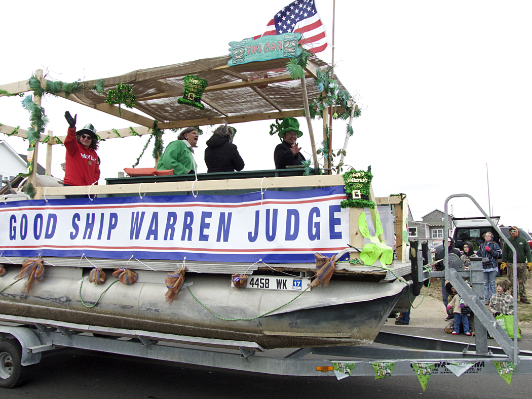 Paying tribute to Councilman Warren Judge. The Dare County Democratic Party float.