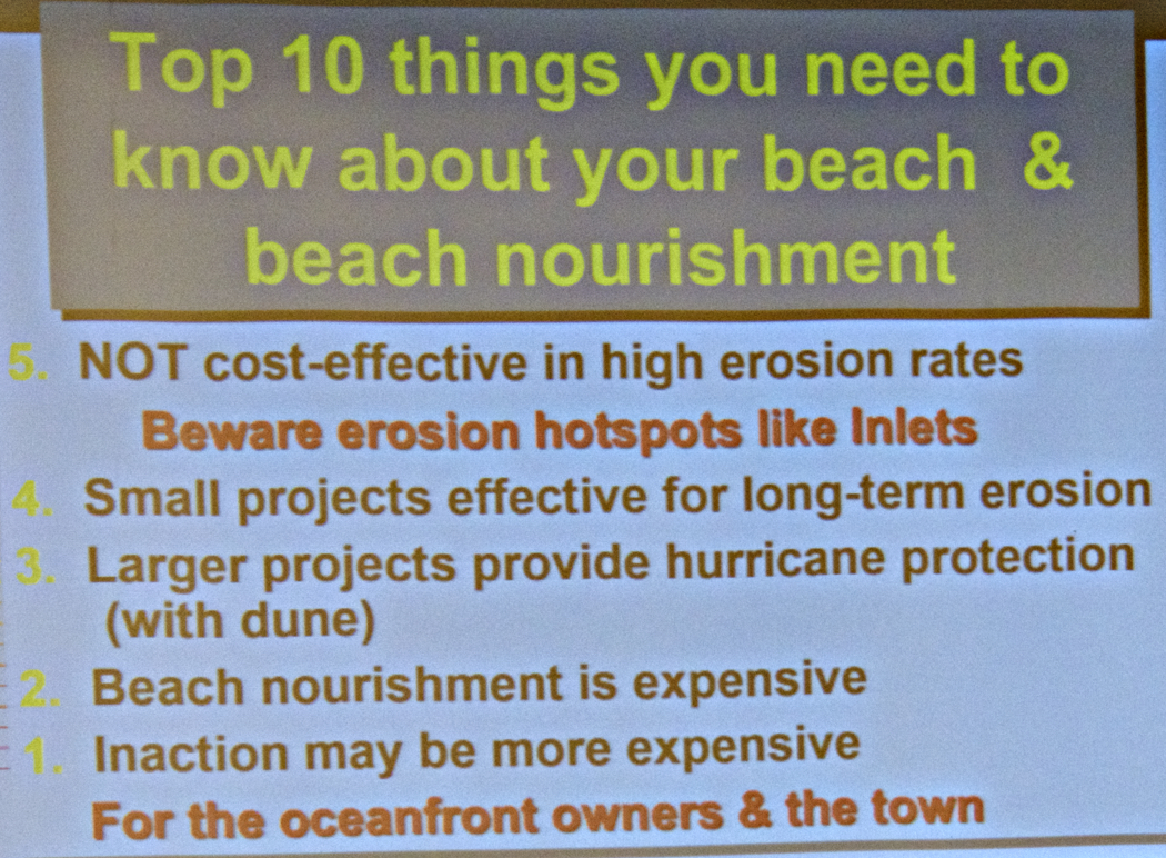 Reasons for beach nourishment. Numbers 1 and 3 are particularly relevant for Southern Shores.
