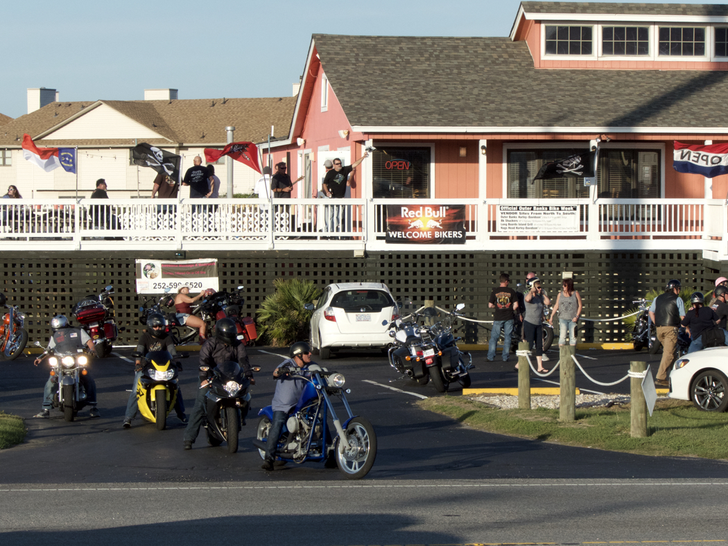 Bikers gathered at Longboards in Kitty Hawk for 16th Annual Outer Banks Bike Week.