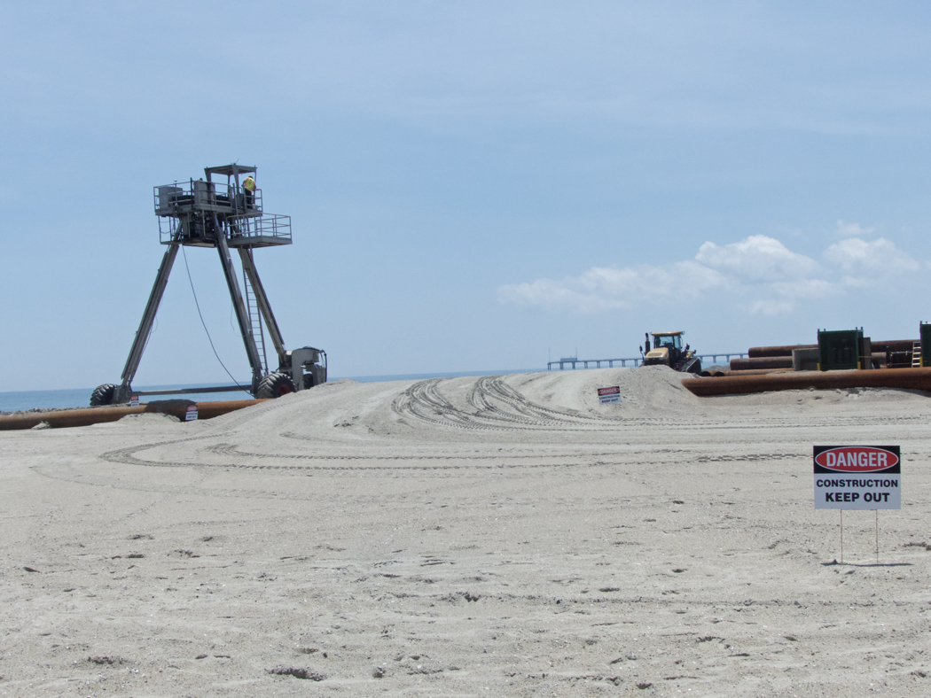 Beach nourishment construction zone in Duck.
