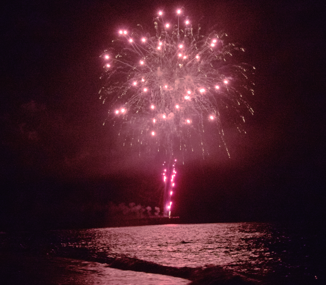 4th of July, 2016. Fireworks over the Atlantic Ocean.