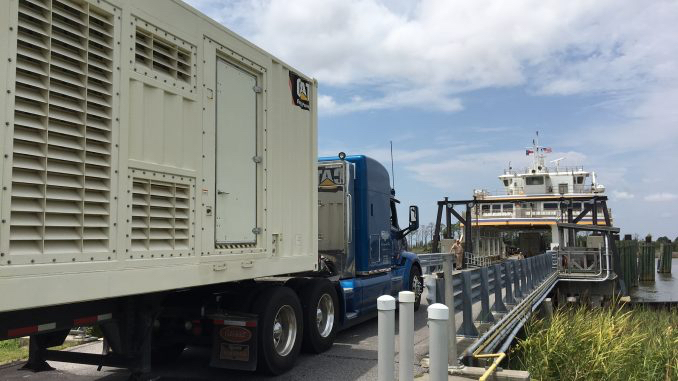 Generator leaving Ocracoke after power was restored on Friday.