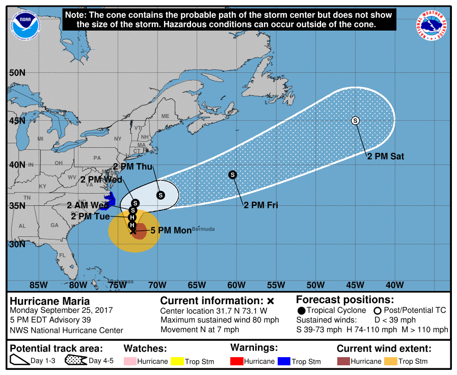National Hurricane Center 5:00 p.m. track, 9/25. Core of storm will remain well offshore.