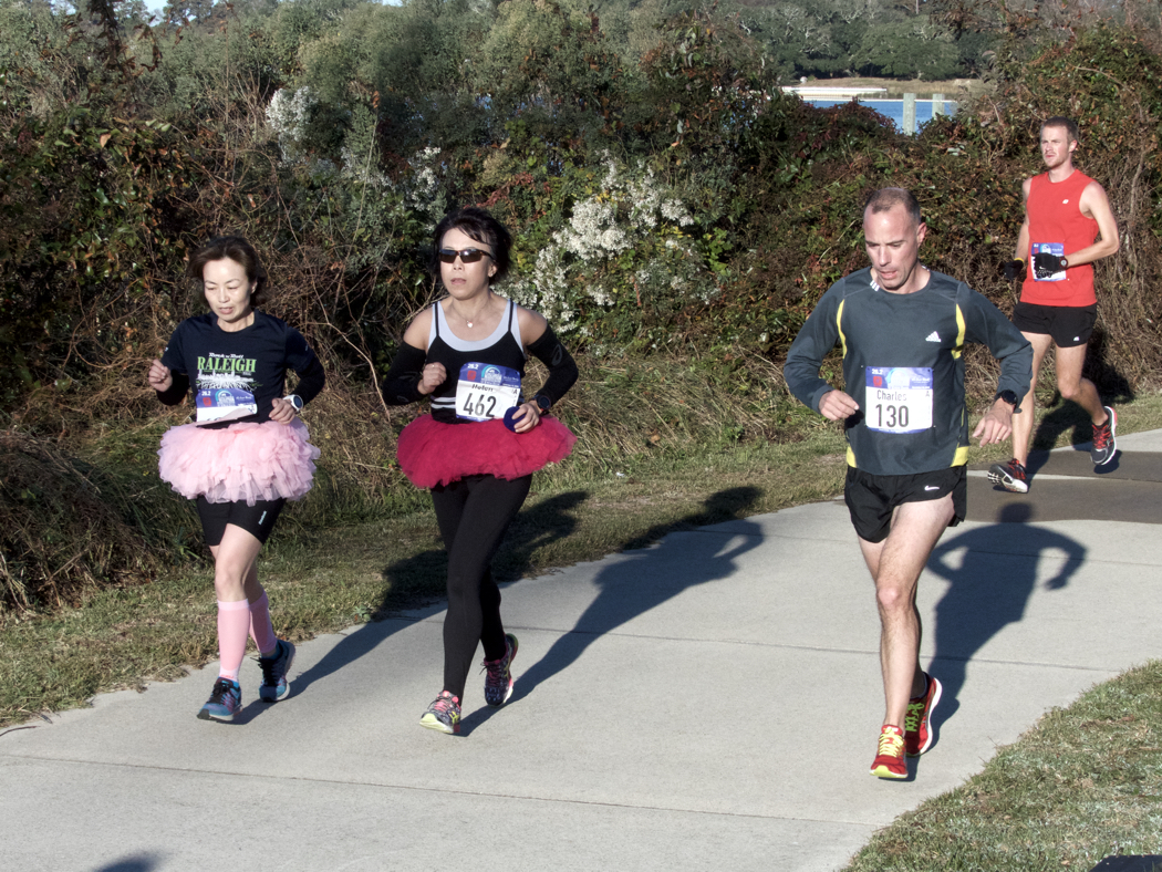 Tutu runners taking the Outer Banks Marathon challenge.