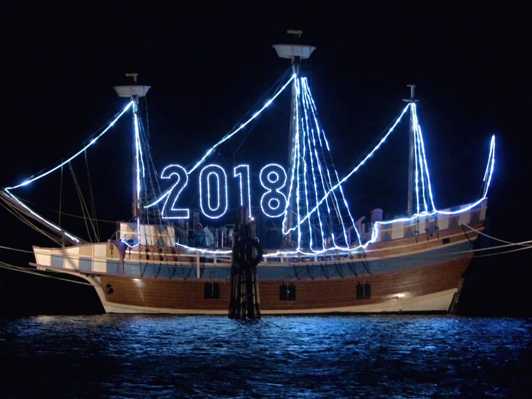 Queen Elizabeth II lit up to welcome in the New Year at the Manteo New Year's Eve celebration.