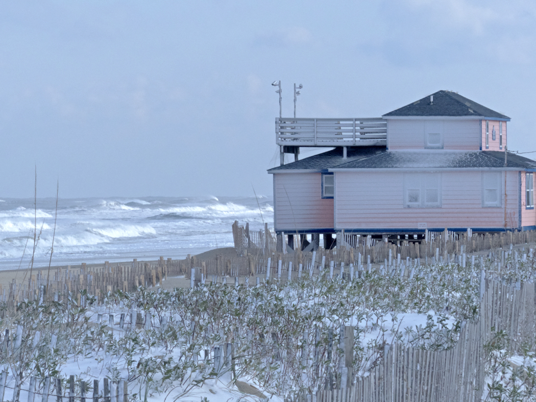 Beach scene in Kitty Hawk after January snowstorm.