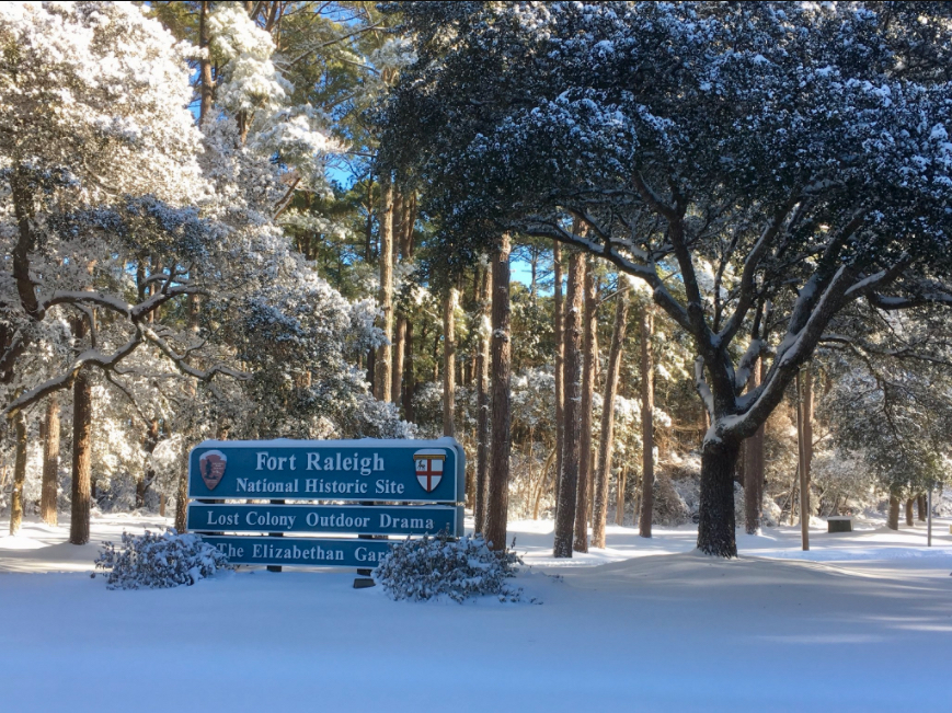 Fort Raleigh National Historic Site on Roanoke Island after latest snowstorm. Photo, National Weather Service