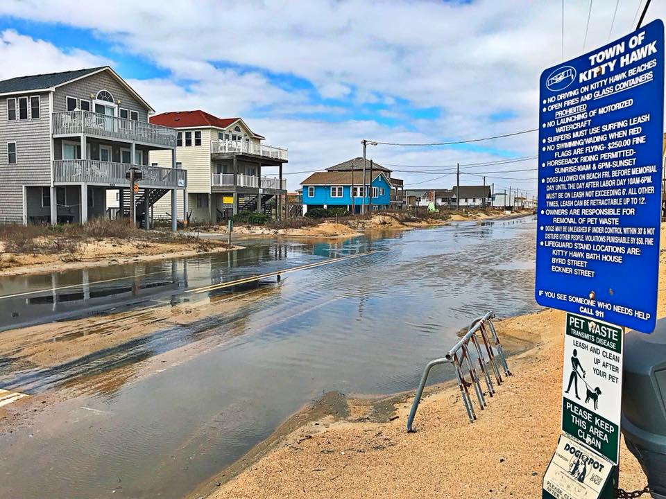 Ocean overwash in Kitty Hawk, day three of the storm.