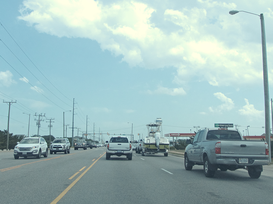 Outer Banks summer traffic on the Bypass. Be patient and think about alternative routes.