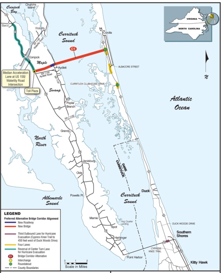 Proposed route of the Mid Currituck Bridge, spanning Currituck Sound.