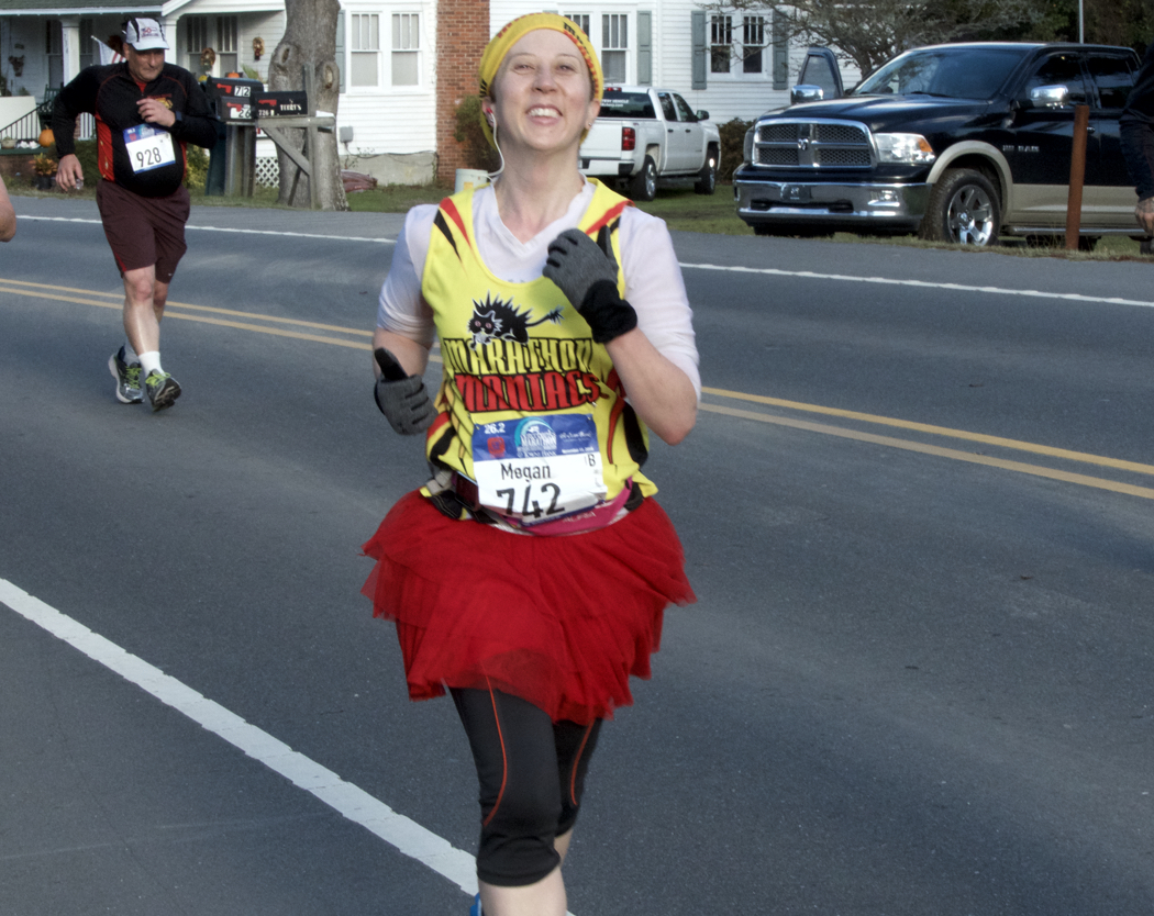 The joy of running the Outer Banks Marathon. Still smiling early in the 26.3 mile journey.