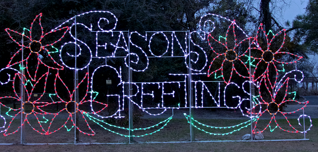 Seasons Greetings lights up the Town Green in Duck.