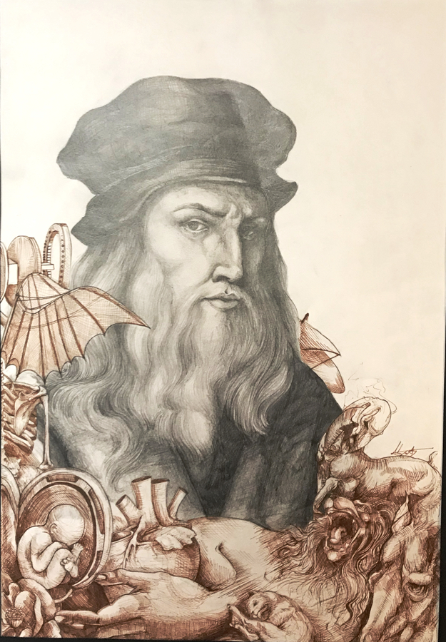 DaVinci Study, Graphite on Paper, original artwork by Alyse Stewart, 11th Grade Manteo HS.