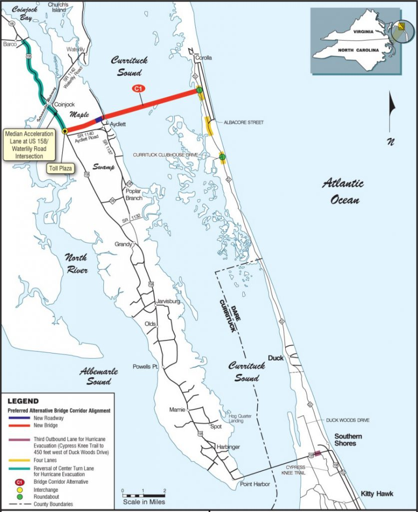 NCOT map showing Mid Currituck Bridge location associated road projects.