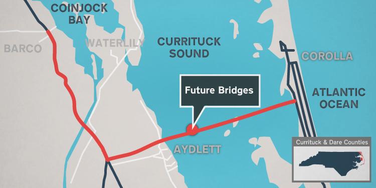 Proposed route of the Mid Currituck Bridge.
