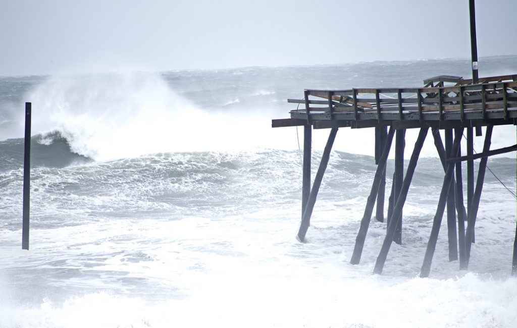 Damaged Nags Head Pier. The last 10 yards or so of the pier have disappeared.
