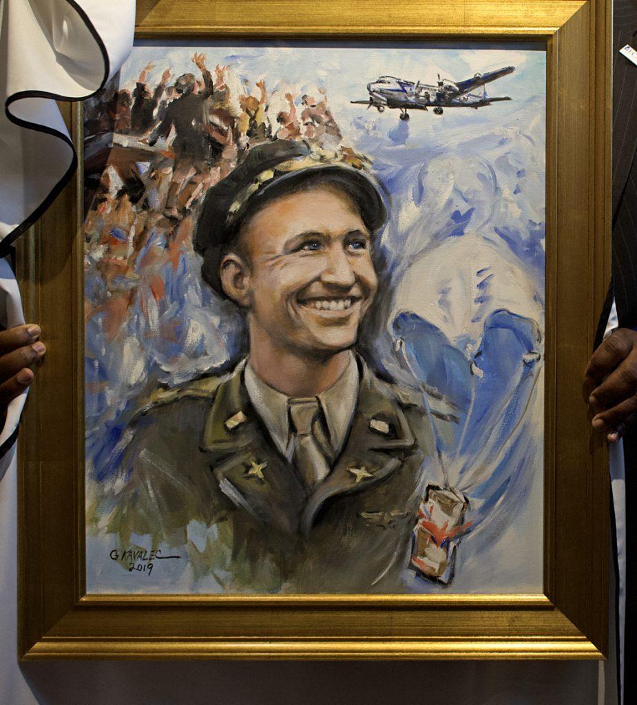 Paul E. Graber Shrine portrait of Lt. Gail Halvorsen as the Candy Bomber.