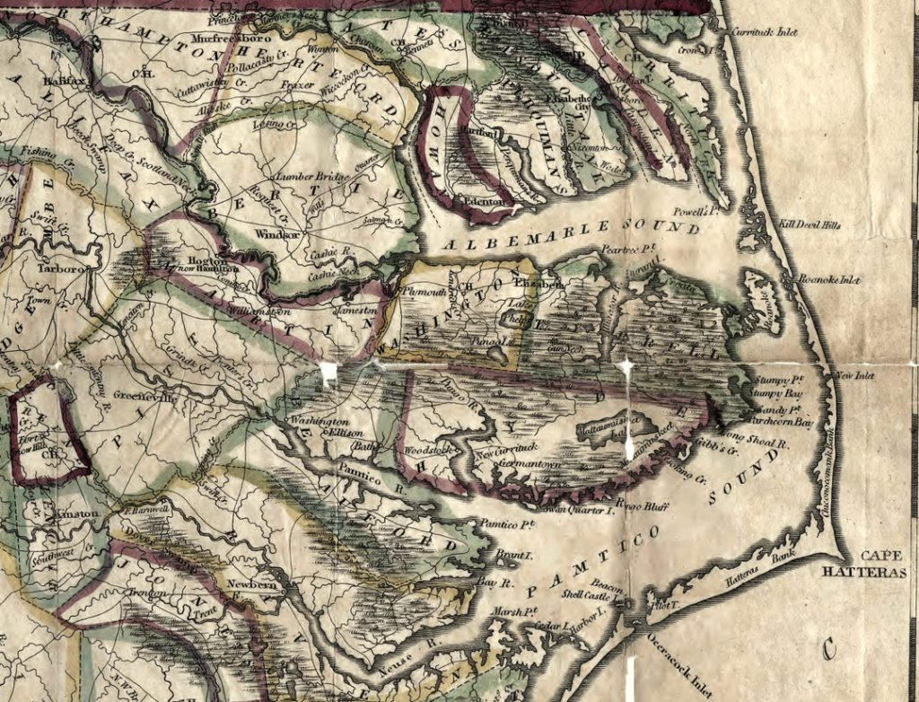 Section of an 1822 map of coastal North Carolina showing three inlets that no longer exist, and no inlets where two are now located.