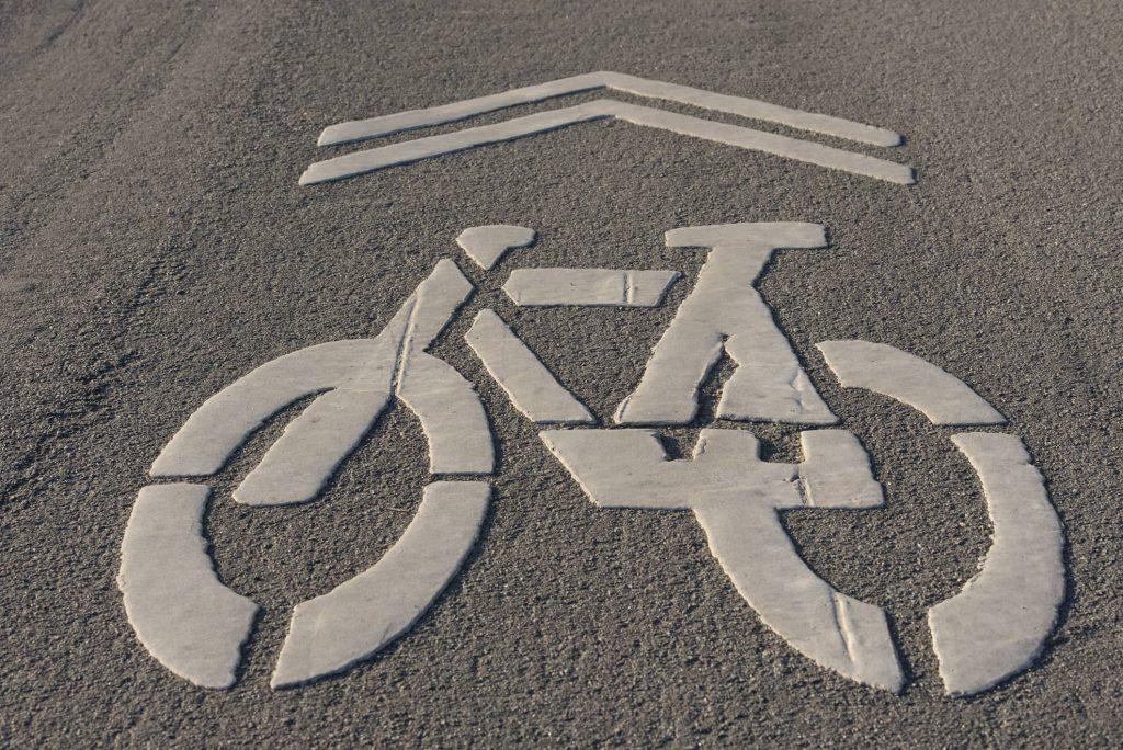 bike lane sign on a bike path