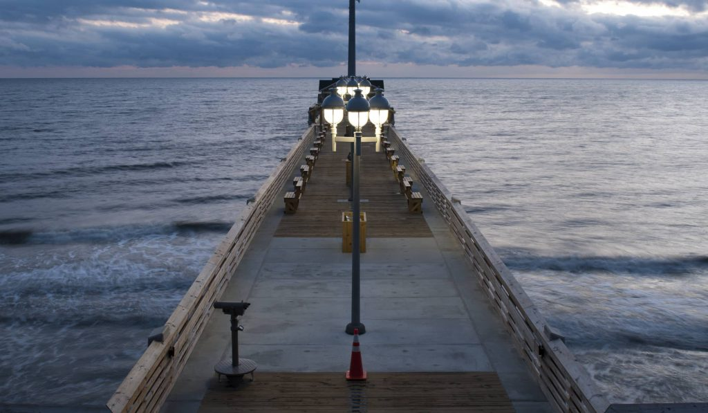 OBX pier at night