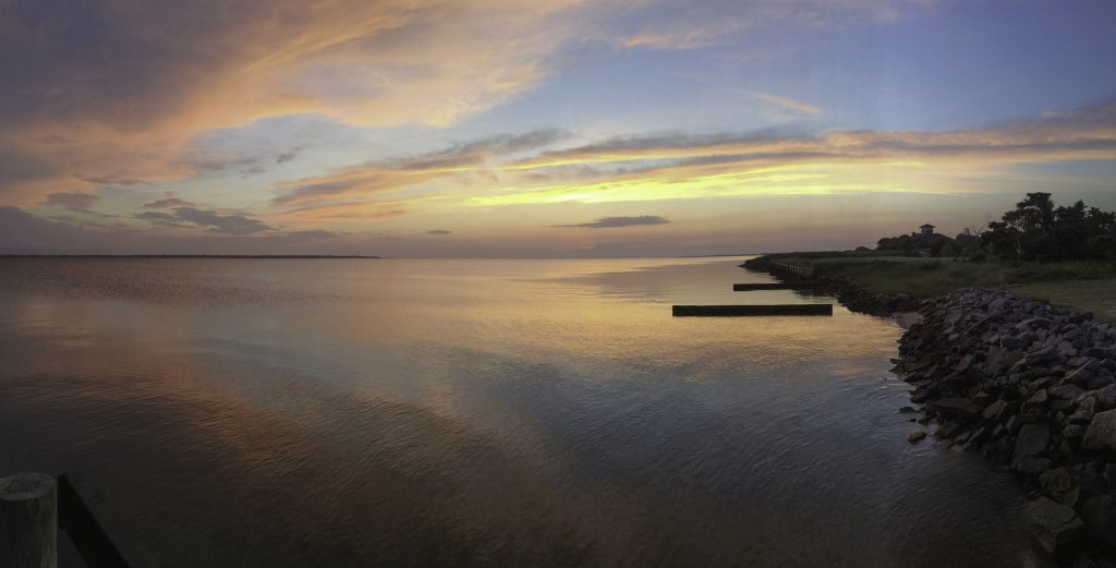 View of the Sound at sunset looking west